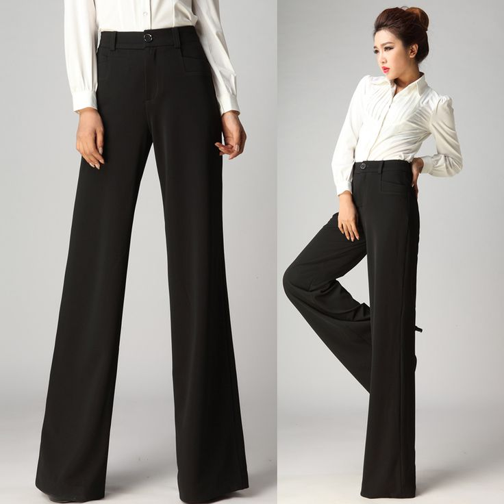 2014 New Winter Autumn Fashion Formal Womens Wide Leg Black Trousers , Fall Female Elegant High Waisted Slim Pants For Woman