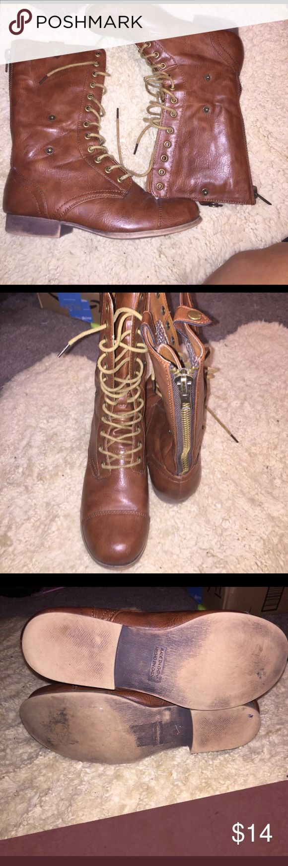 brown combat or fold over boots can be worn two ways as regular combat boots or folding over and showing the houndstooth print. pretty good condition except for sole. besides that no wear and tear Forever 21 Shoes Combat & Moto Boots
