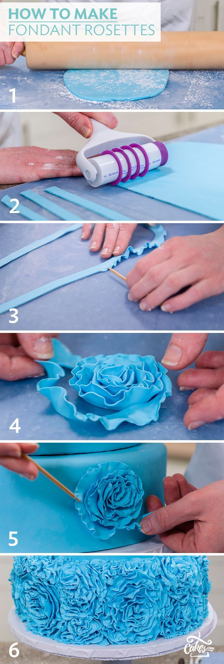 How To Make Fondant Rosette And Apply To Cake