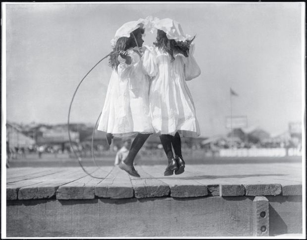 Girls skipping, early 1900s. The girls were probably part of the New South Wales annual children's demonstration held at the Sydney Cricket Ground.   Images of Australia:  the Tyrrell Collection of photographs of Australia's history