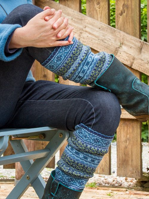 Heres an idea- knit two fairisle samplers that would fit as leg warmers- saw the idea on someone elses page who had used the sleeves of an old jersey :>)