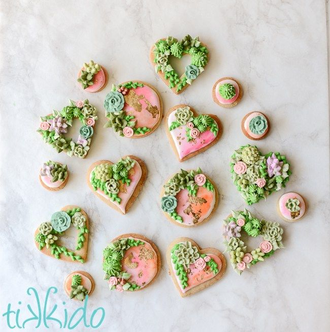 Learn how to make elegant succulent garden decorated sugar cookies flecked with real gold! This is a project worth sinking your teeth into :) Get the details here