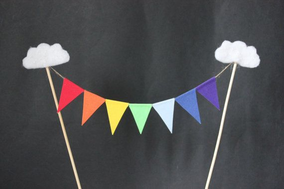 Rainbow cake topper - birthday cake topper, celebration cake topper, rainbow flags with cloud embelishment