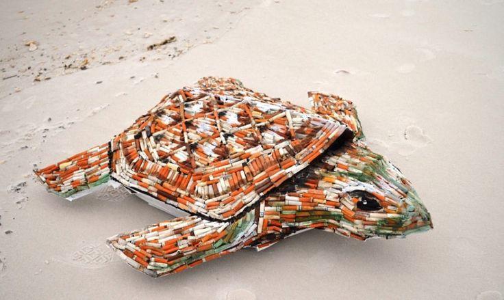 [조형물] 천여개의 담배꽁초로 만든 바다거북 : 네이버 블로그