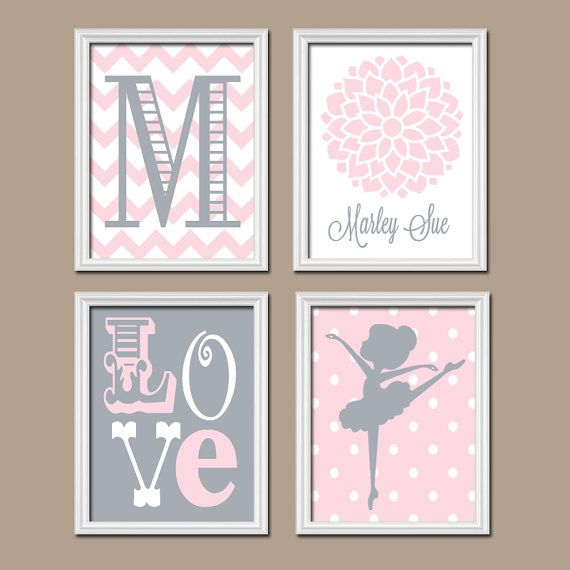 Pink Gray Nursery Wall Art Canvas Artwork BALLERINA by trmDesign