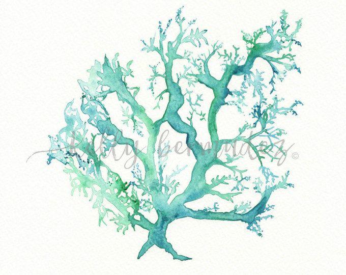 Print koraal, strand kunst, koraal aquarel, Coral kunst, Coral afdrukken, kunst aan de muur, No.1 zee koraal, aquarel, oceaan leven