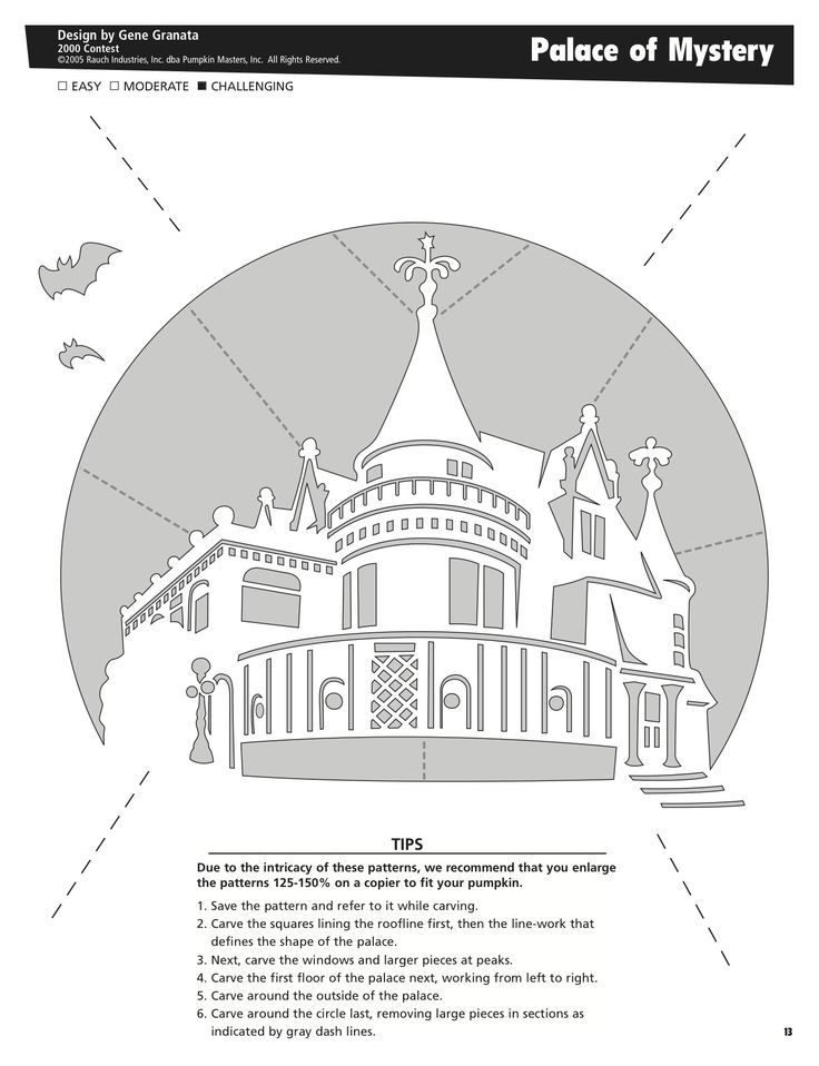 Palace of Mystery free pattern by Pumpkin Masters. Want to print this out? Click on the pin's image, print it out and voila! Pumpkin pattern perfection.