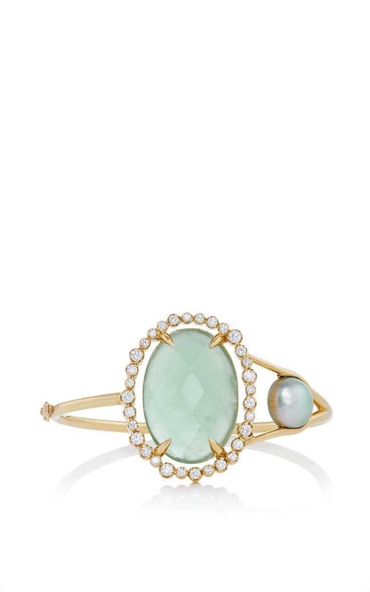 MO Exclusive: One Of A Kind 18K Gold Aquamarine And Pearl Slice Bracelet - Jordan Alexander Spring Summer 2016 - Preorder now on Moda Operandi