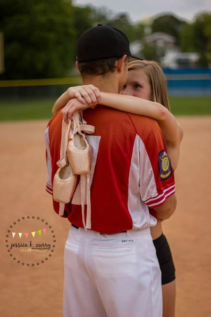 Dancer and baseball player photography session.  Creative photo ideas for sports couples. Jessica K. Curry Photography. Asheboro,  NC