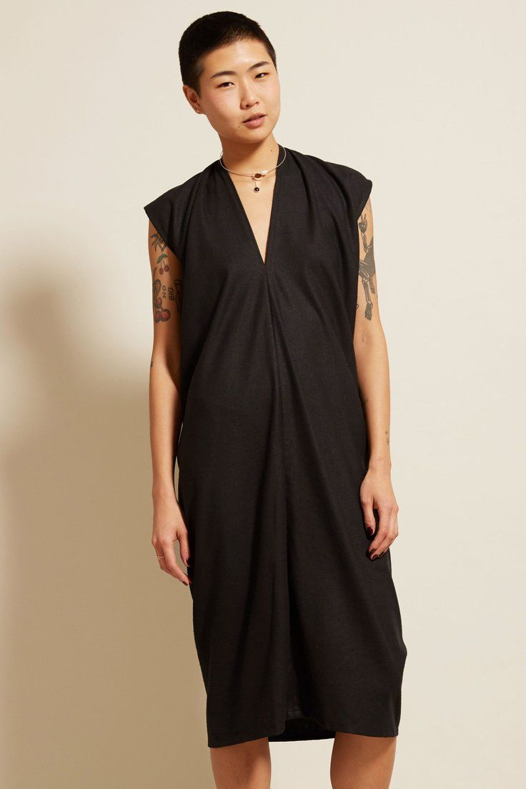 Miranda Bennett Everyday Dress Long In Black Silk Noil