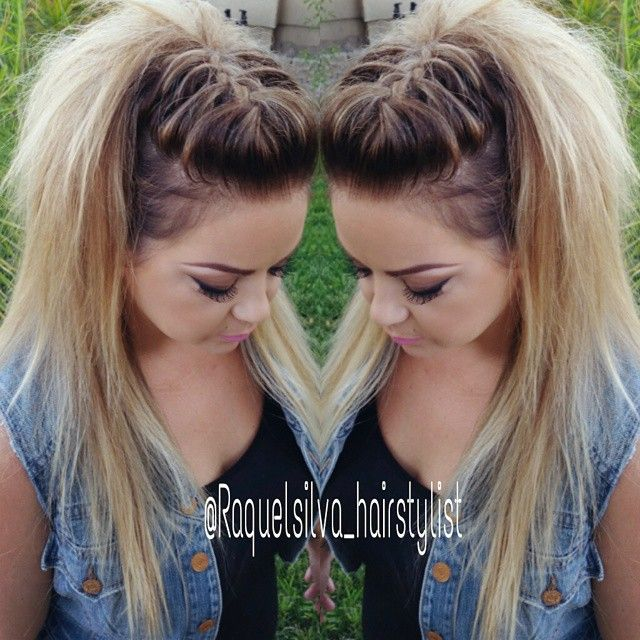 Raquel Silva @raquelsilva_hairstylist | French braid fohawk