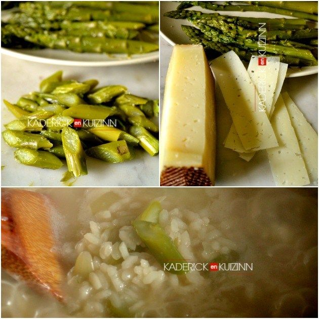 Recette risotto - Risotto printanier aux asperges vertes et fromage manchego