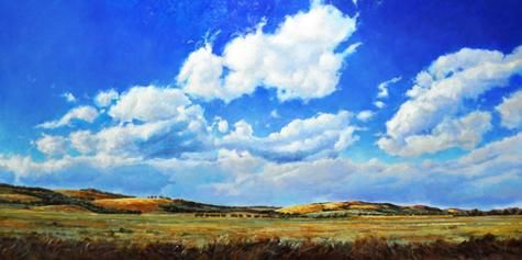 """Carl Schlademan - Through the Hills 36 x 72"""" acrylic/canvas 