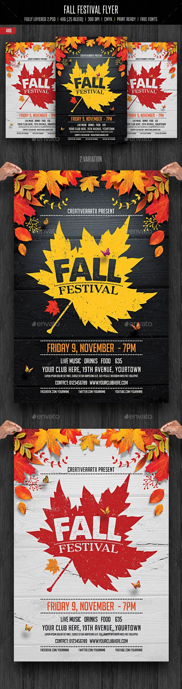 Fall Festival Flyer Template PSD #design Download…