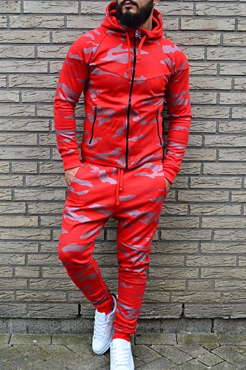 ensemble jogging homme camouflage rouge 658