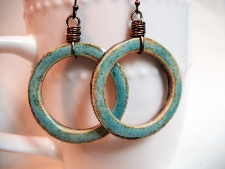 earrings  rustic pottery hoops antique copperboho by 316clay, $17.90