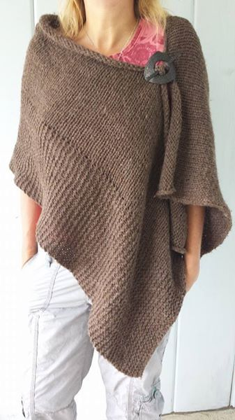 Instant Poncho! Just add a shawl pick to a knitted rectangle!