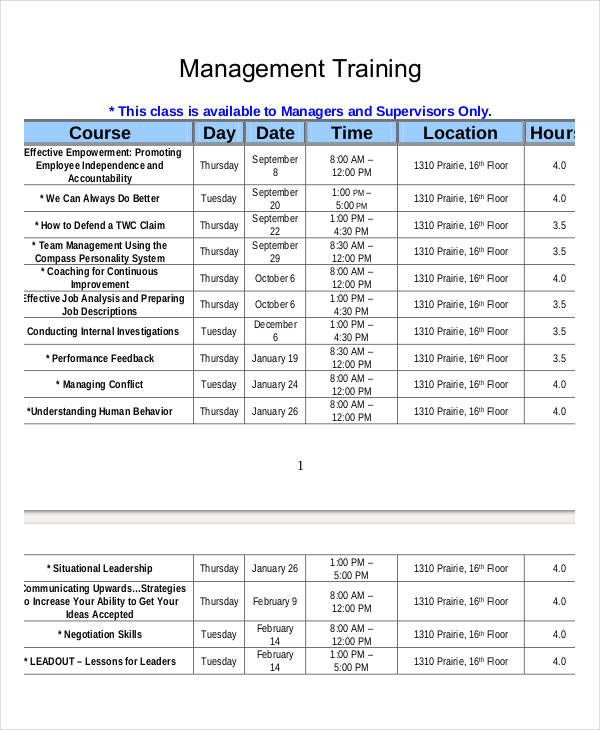 Printable Employee Training Schedule Template Employee Training