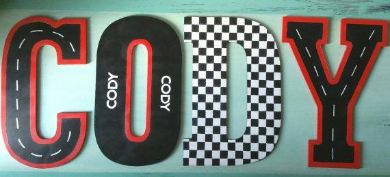 Color Pop Raceway Painted Wooden Letters by TreasuresofSavannah