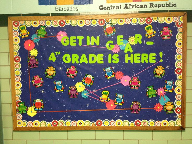 Robot back-to-school bulletin board -- created it myself!