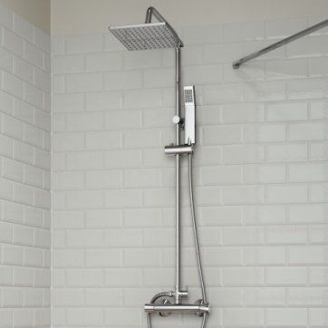 Square 200mm Exposed Shower Kit with Hand Held [PT-SP1012] - £129.99 : Platinum Taps & Bathrooms