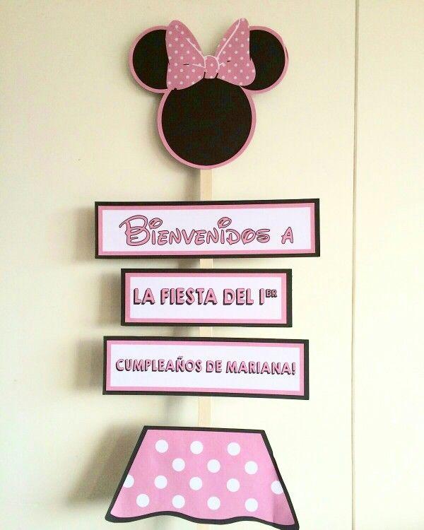 minnie mouse party   #MinnieMouseparty #MesaDePostres #TableDessert #MinnieMouse letrero entrada para fiesta minnie mouse