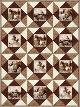 HORSE ROUND UP Precut Quilt Blocks Kit