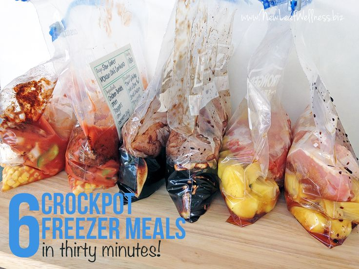 Everything you need to know how to make six freezer crockpot meals in 30 minutes, including the recipes, a grocery list, and helpful freezer meal tips!