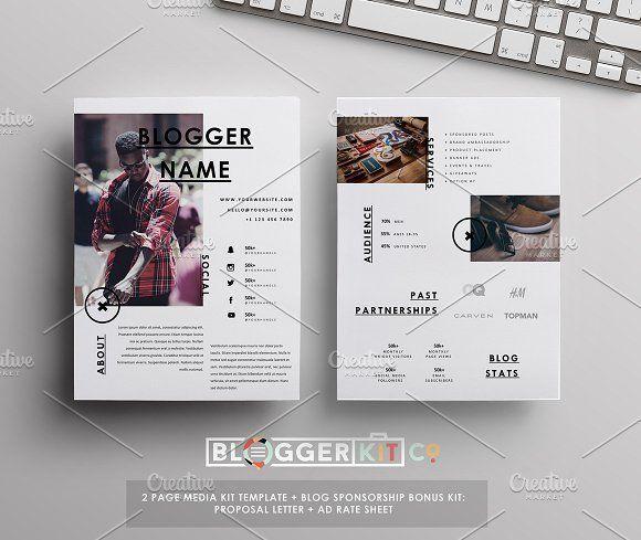 Media Kit Sponsorship Set 4 Pgs By Blogger Kit Co On