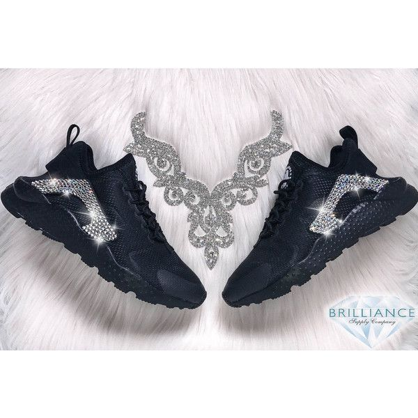Swarovski Nike Shoes Bling Nike Air Huarache Run Ultra Shoes Black... ($225) ❤ liked on Polyvore featuring shoes, grey, sneakers & athletic shoes, tie sneakers, women's shoes, shiny shoes, tie shoes, polish shoes, wrap shoes and black polishable shoes