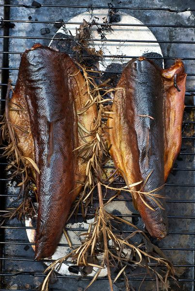 Trout rivers - Dickdonkin. Trout smoked on oak chips with herbs. I usually soak the trout first in brine.