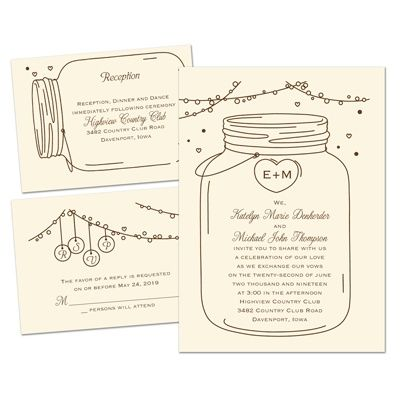 The Antique Canning Jar Design On This Affordable Wedding Invitation Kit  Will Set The Tone For