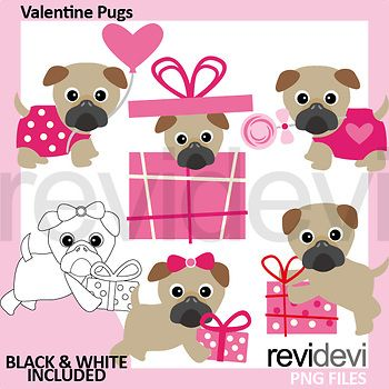 Valentine pug clip art in pink brown. Cute pugs clipart for Valentine's day activities & centers, cards, decor, and for mroe crafts! This clipart pack features pugs with gift box and balloon. Great resource for any school and classroom projects such as for