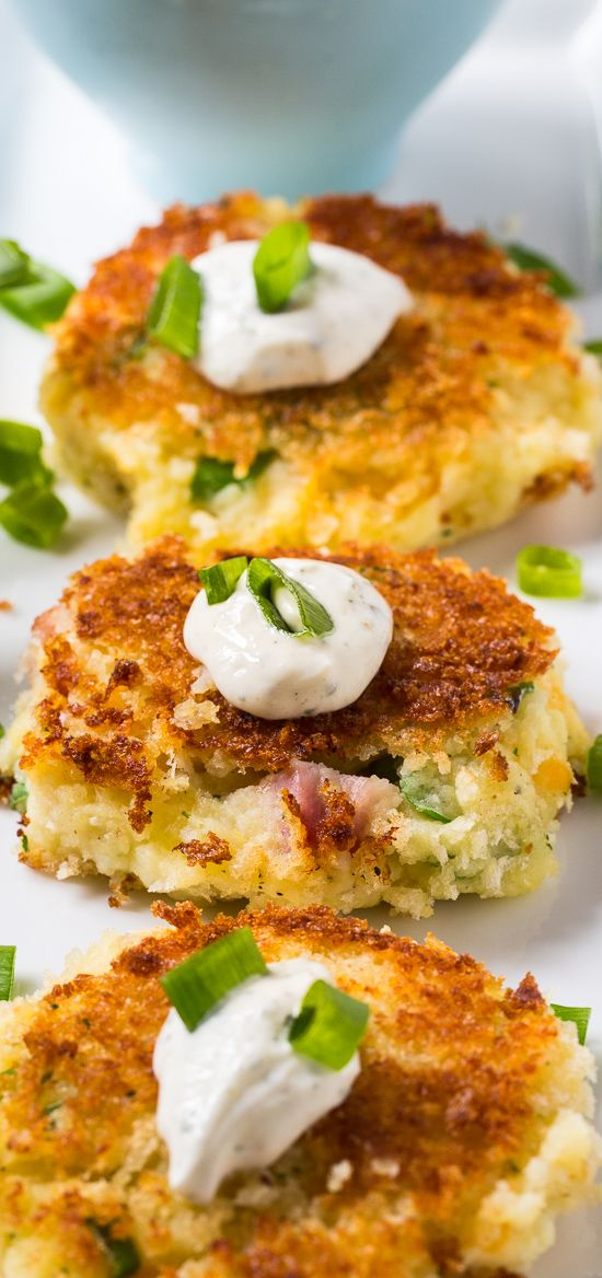 Mashed Potato Croquettes with Ham and ranch seasoning. A great way to use up Thanksgiving leftovers.
