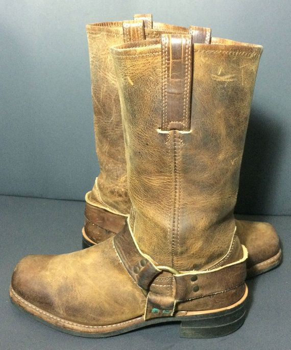 Frye 87350 Harness Gaucho Brown Leather Motorcycle Riding Biker Boots Men's Size 9  Price: $179.99