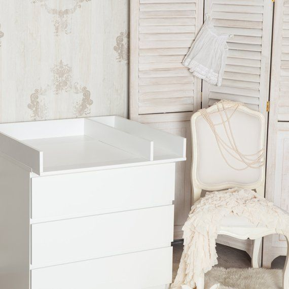 Puckdaddy Changing Top Separation Compartment Changing Table Top For Ikea Malm Dresser In White Ikea Baby Ikea Malm Ikea Malm Dresser