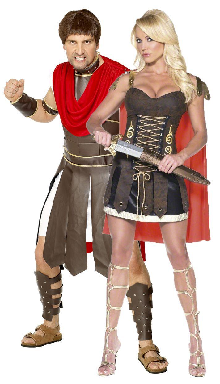 Déguisements couple gladiateurs romains : Déguisement de centurion romain hommeSuperbe déguisement homme de centurion romain qui comprend le haut et la robe imitation cuir, les bracelets (bras / cou), une cape romaine...