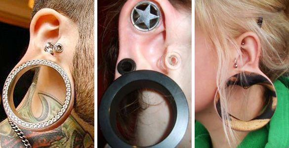 Body mods. Super stretched earlobes. Guaged ears and cartilage.