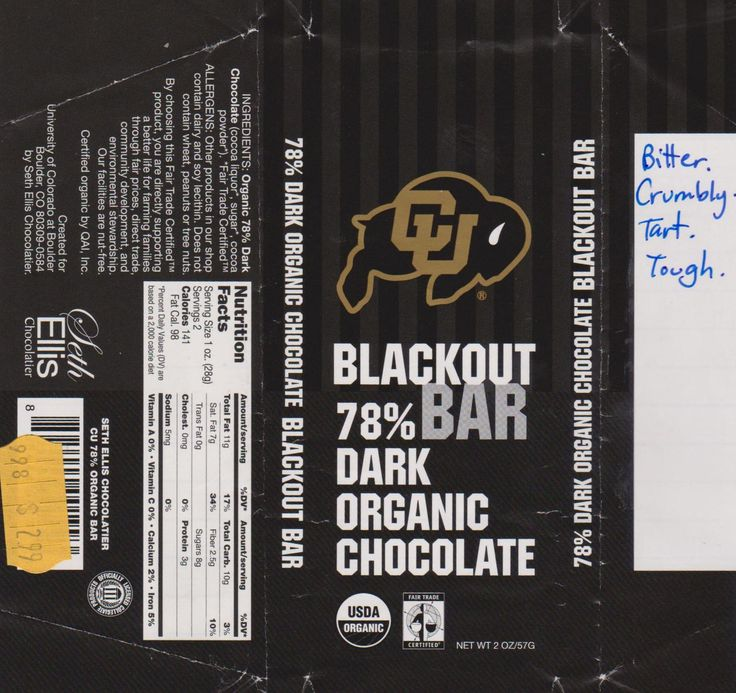 Seth Ellis Chocolatier Boulder, CO CU Blackout Bar 78% dark organic chocolate