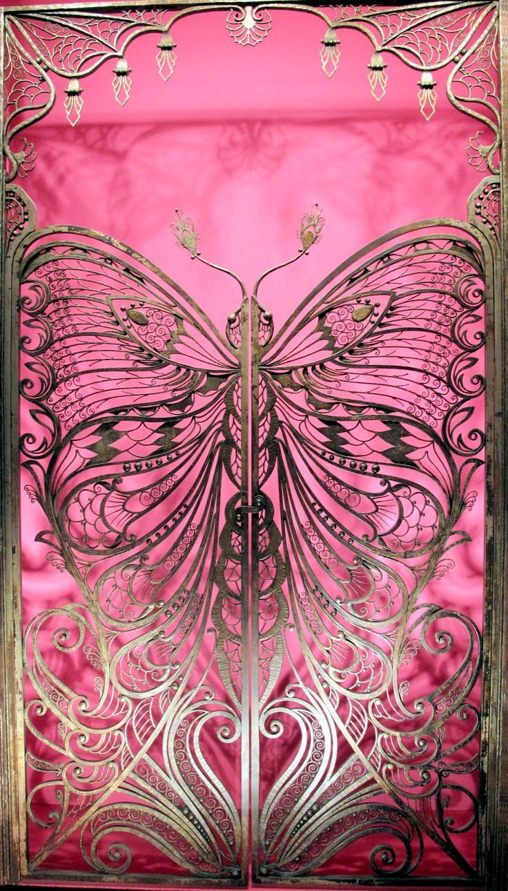 Art Nouveau (c. 1900) Butterfly Gate, Brooklyn Museum of Art, New York. Emile Robert, 1900, Wrought Iron Butterfly Gate