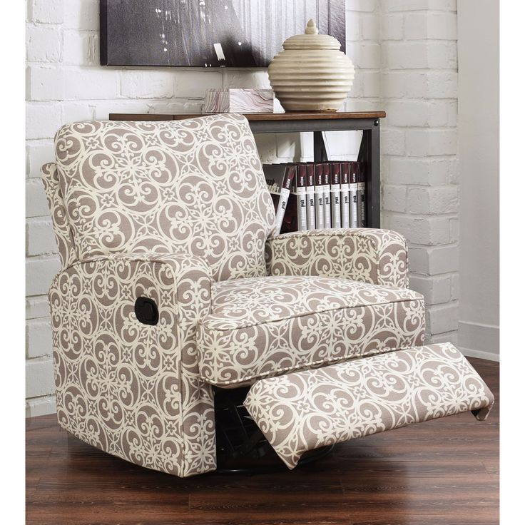 abbyson luca grey floral swivel glider recliner chair grey floral size oversized