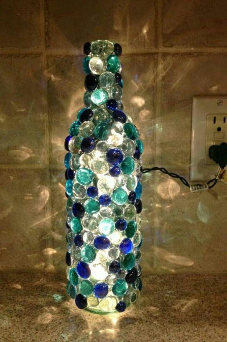 Amazing Bottle Lamp aqua blues clear by CreativeMelon on Etsy