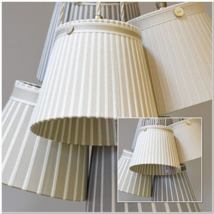 Light up your home - Hamilton and Hamilton Broad lamp shade, classic stripes in warm grey and pale gold.  www.bay-design.co.uk
