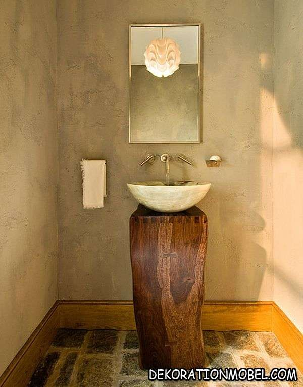 feuchtraum trendig waschbecken freistehend holz dunkel natursteine wandverkleidung keramikfliesen - Natursteine Bad