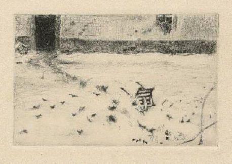 Bohuslav Reynek Zasněžený dvůr / Snow-covered Farmyard suchá jehla / dry point 8,9 x 13,8 cm, 1936, opus G 97