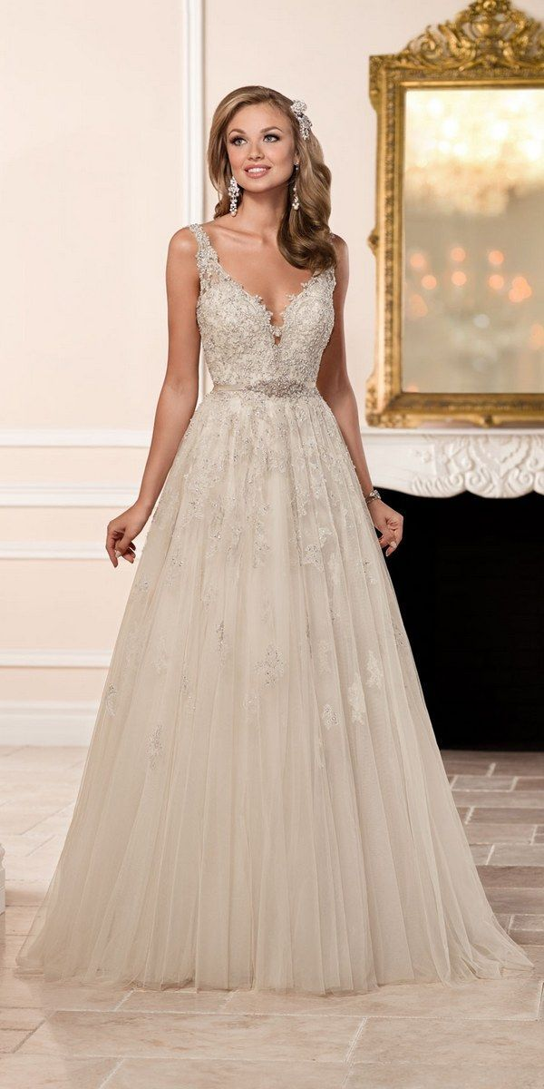 Stella York A-line Wedding Dress with Plunging Neckline style 6291 b / http://www.deerpearlflowers.com/stella-york-fall-2016-wedding-dresses/2/