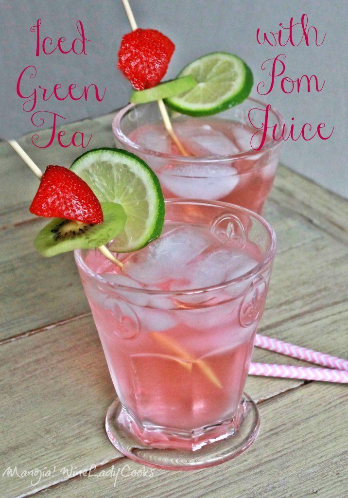 Iced Green Tea With Pom Juice | www.wineladycooks.com #summer #drinks #icedtea  @wineladyjo