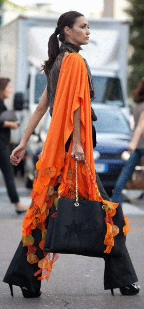 ragged edge orange shawl scarf #UNIQUE_WOMENS_FASHION