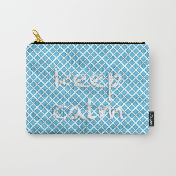 Carry-all Pouch Abstract design. White grid, sky blue background. Text: «keep calm» digital,pattern, grid, plaid, artwork, mood, «keep calm», cold, blue, white, sky, abstract, society6, gifts, shopping, buy, sell, unique #artwork #abstract #coldcolours #society6 #carryallpouch #pouch