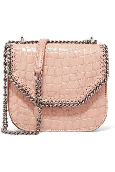 Stella McCartney - The Falabella Box Mini Croc-effect Faux Leather Shoulder Bag - Blush - one size
